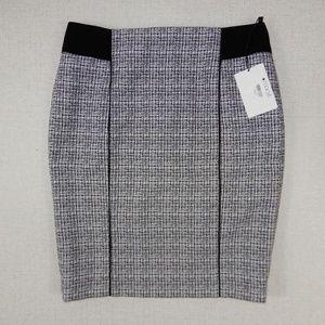 Calvin Klein Size 14 Petite White Black Knit Skirt